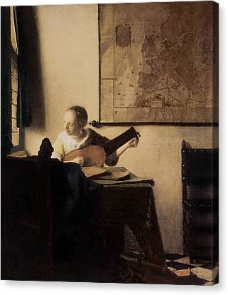 Woman With A Lute Canvas Print by Jan Vermeer