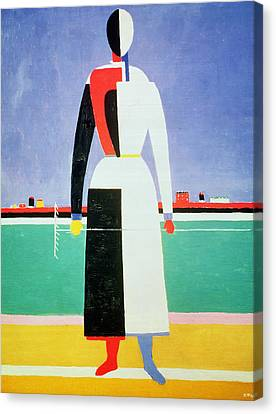 Woman With A Rake Canvas Print by Kazimir Severinovich Malevich