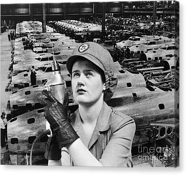 Woman Working During Wwii, C.1940s Canvas Print by H. Armstrong Roberts/ClassicStock