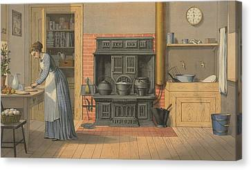 Woman Working In An Up-to-date Kitchen Canvas Print by Everett