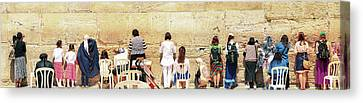 Women And Children Praying At The Kotel, Jerusalem Canvas Print by Yoel Koskas