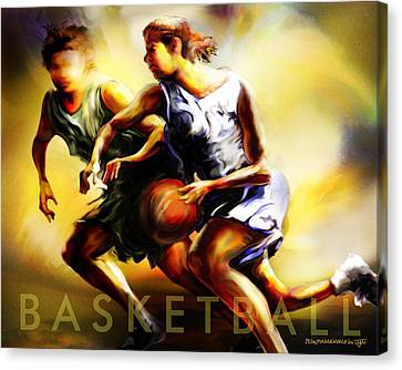Women In Sports - Basketball Canvas Print by Mike Massengale