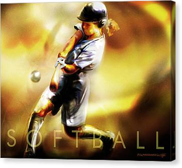 Women In Sports - Softball Canvas Print by Mike Massengale