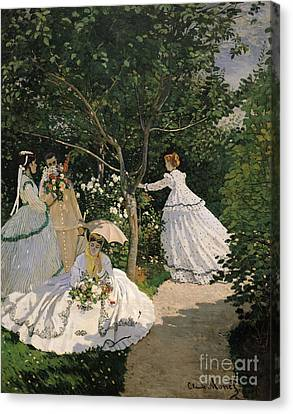 Women In The Garden Canvas Print by Claude Monet