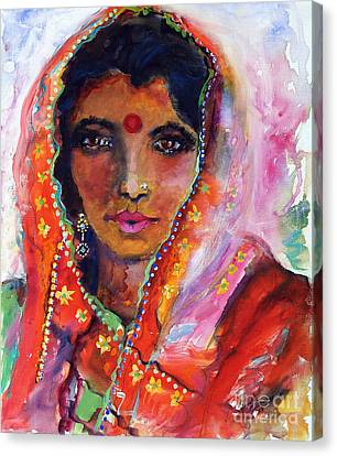 Women With Red Bindi By Ginette Canvas Print by Ginette Callaway