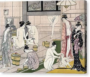 Women's Bathhouse Canvas Print by Torii Kiyonaga
