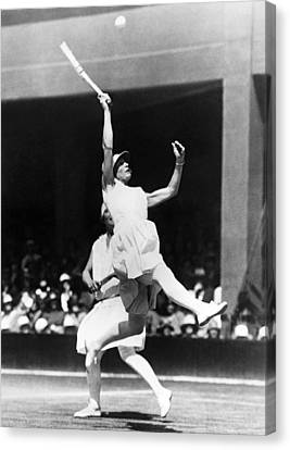 Women's Tennis At Wimbledon Canvas Print by Underwood Archives