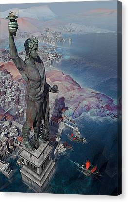 wonders the Colossus of Rhodes Canvas Print by Te Hu