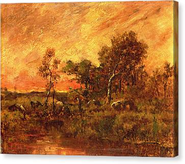 Wooded Landscape With A Faggot Gatherer Canvas Print by Pierre Etienne Theodore Rousseau