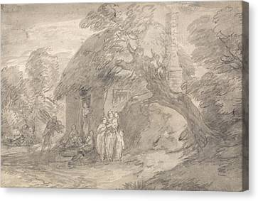 Wooded Landscape With Figures Outside A Cottage Door Canvas Print by Thomas Gainsborough