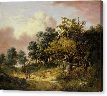 Wooded Landscape With Woman And Child Walking Down A Road  Canvas Print by Robert Ladbrooke