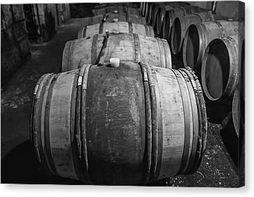 Wooden Barrels In A Wine Cellar Canvas Print by Georgia Fowler