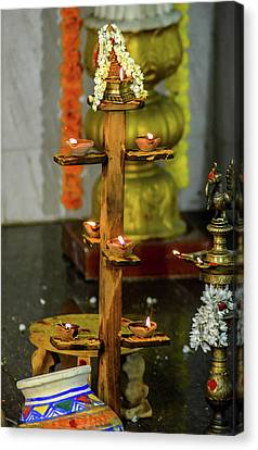 Wooden Candle Stand Canvas Print by Srinivas Rao