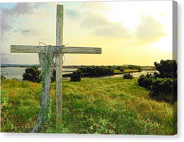 Wooden Cross 1 Canvas Print by Sheri McLeroy