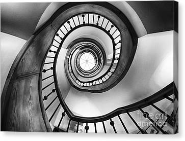 Wooden Staircase Perspective Canvas Print by George Oze