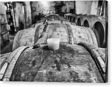 Wooden Wine Barrel Row Canvas Print by Georgia Fowler