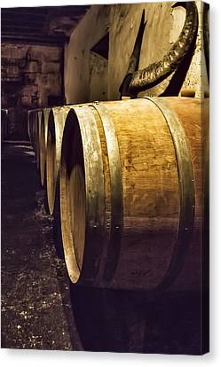 Wooden Wine Barrels Canvas Print by Georgia Fowler