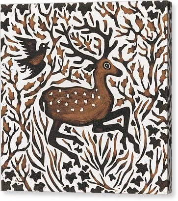 Woodland Deer Canvas Print by Nat Morley