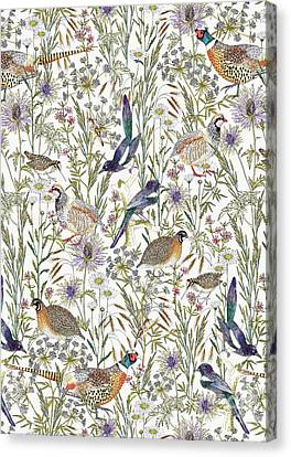 Woodland Edge Birds Canvas Print by Jacqueline Colley