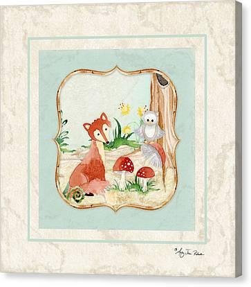 Woodland Fairy Tale - Fox Owl Mushroom Forest Canvas Print by Audrey Jeanne Roberts