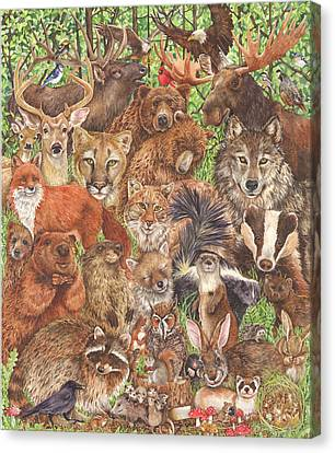 Woodland Mammals Canvas Print by Wendy Edelson