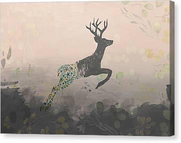 Woodland Stag Canvas Print by Amanda  Lakey