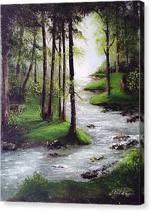 Woodland's River Canvas Print by Marcela Rogel de Pepper
