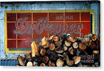 Woodpile With Taste - Dr Pepper Rustic Antique Red Country Southwest Canvas Print by Jon Holiday