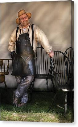 Woodworker - The Chair Maker  Canvas Print by Mike Savad