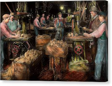 Woodworking - Toy - The Toy Makers 1914 Canvas Print by Mike Savad