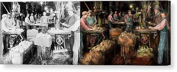 Woodworking - Toy - The Toy Makers 1914 - Side By Side Canvas Print by Mike Savad