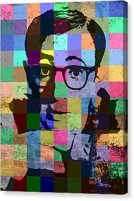 Woody Allen Director Hollywood Pop Art Patchwork Portrait Pops Of Color Canvas Print by Design Turnpike