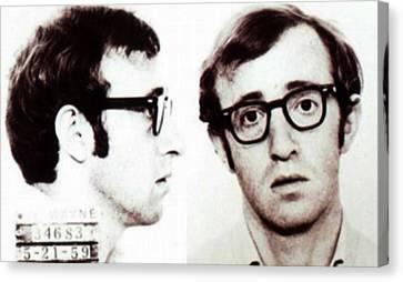 Woody Allen Mug Shot For Film Character Virgil 1969 Sepia Canvas Print by Tony Rubino