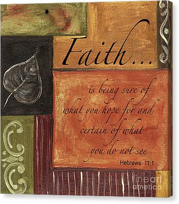 Words To Live By Faith Canvas Print by Debbie DeWitt