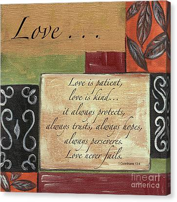 Words To Live By Love Canvas Print by Debbie DeWitt