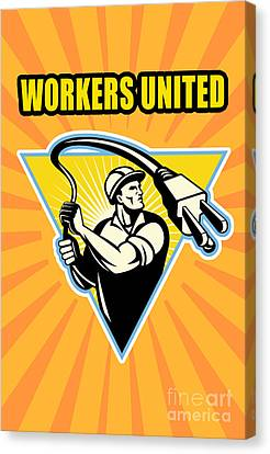 Worker United Canvas Print by Aloysius Patrimonio