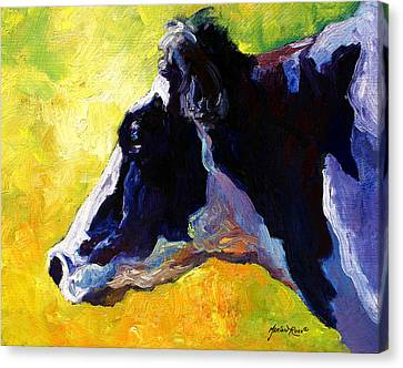 Working Girl - Holstein Cow Canvas Print by Marion Rose