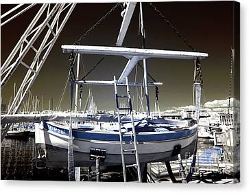 Working On The Boat Canvas Print by John Rizzuto