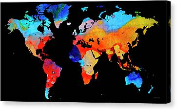 World Map 18 Black Background Canvas Print by Sharon Cummings