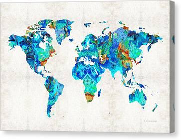 World Map 22 Art By Sharon Cummings Canvas Print by Sharon Cummings
