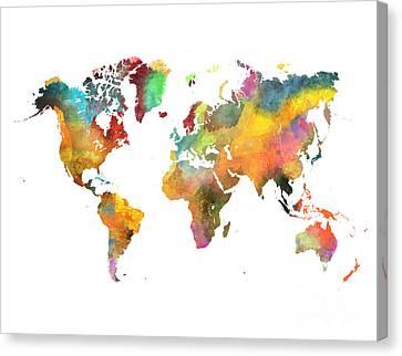 World Map 4 Canvas Print by Justyna JBJart