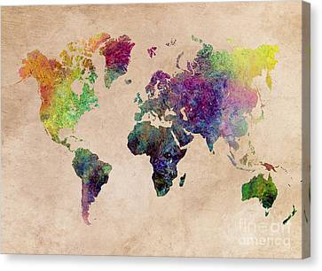 World Map Art Painting Canvas Print by Justyna JBJart