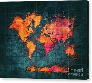 World Map Art Series Canvas Print by Justyna JBJart