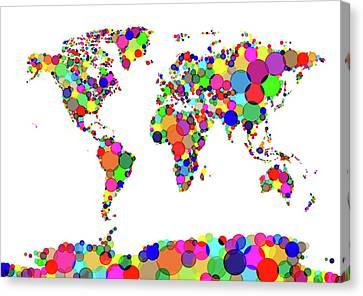 World Map Circles Canvas Print by Michael Tompsett
