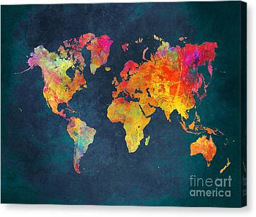 World Map Colored Map Canvas Print by Justyna JBJart