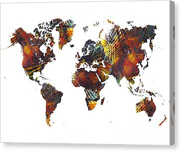 World Map Cube Art Canvas Print by Justyna JBJart