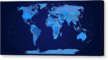 World Map In Blue Canvas Print by Michael Tompsett