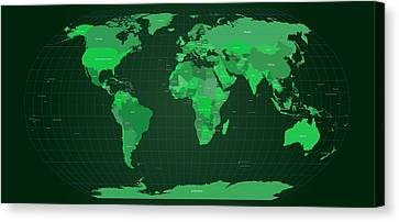 World Map In Green Canvas Print by Michael Tompsett