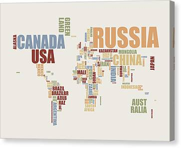 World Map In Words 2 Canvas Print by Michael Tompsett