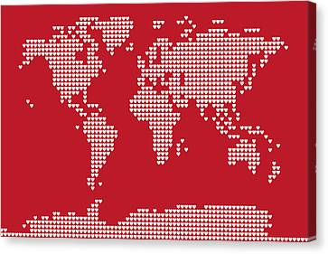World Map Love Hearts Canvas Print by Michael Tompsett